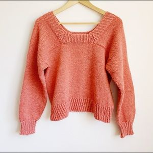 boxy salmon pink hand knit sweater